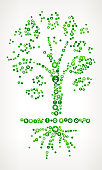 Growing Tree Nature and Environmental Conservation Icon Pattern