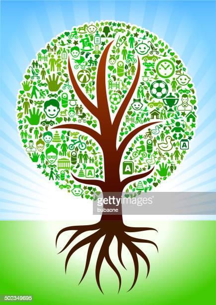 Crescendo albero con icone di famiglia interfaccia