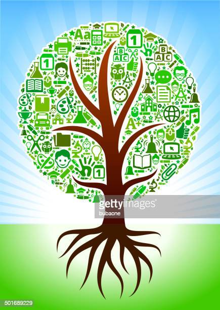 growing tree with green school royalty free vector arts - high school student stock illustrations, clip art, cartoons, & icons