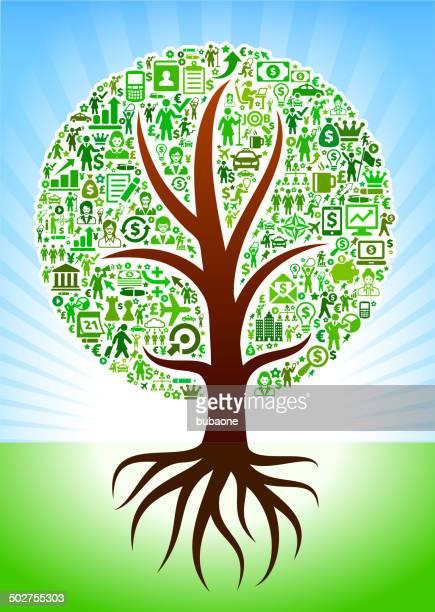 Crescendo albero con icone di interfaccia donna d'affari