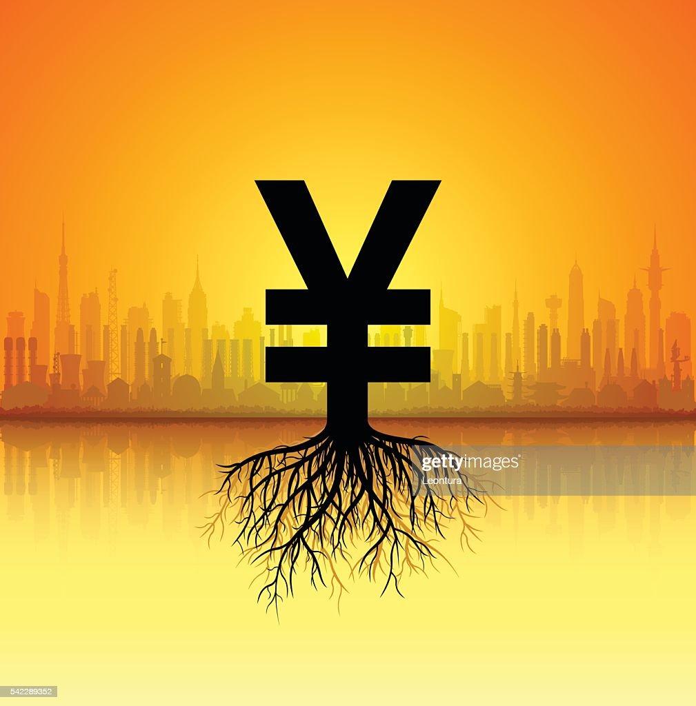 Growing Yen or Yuan : stock illustration