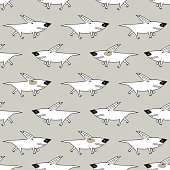 Growling Dog Background for Kids. Vector Seamless Pattern with doodle Angry Bullterrier. Bull terrier Dogs
