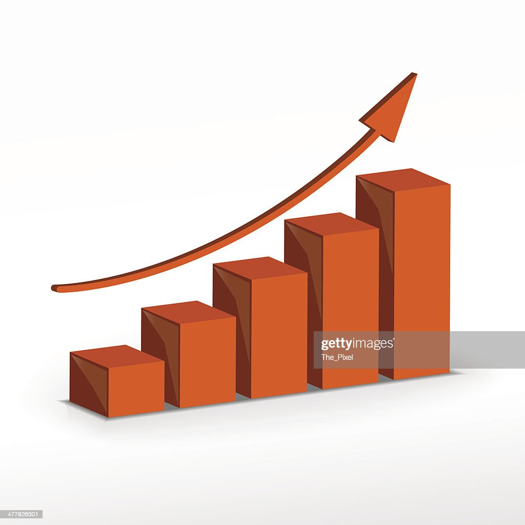 3D growth bar chart