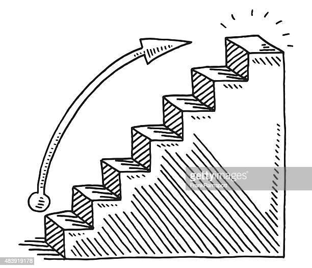 ilustrações, clipart, desenhos animados e ícones de de negócios desenhar gráfico de crescimento bar - degraus
