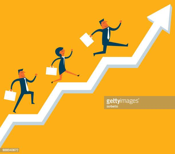 growth business - three people stock illustrations