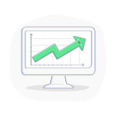 Growth Chart, Graph, Green Up arrow on computer display