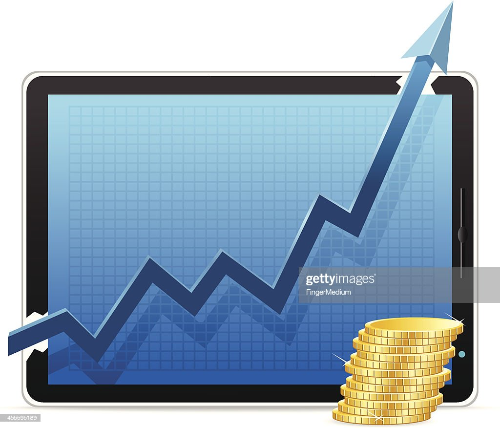 Growth Chart with Coin : stock illustration