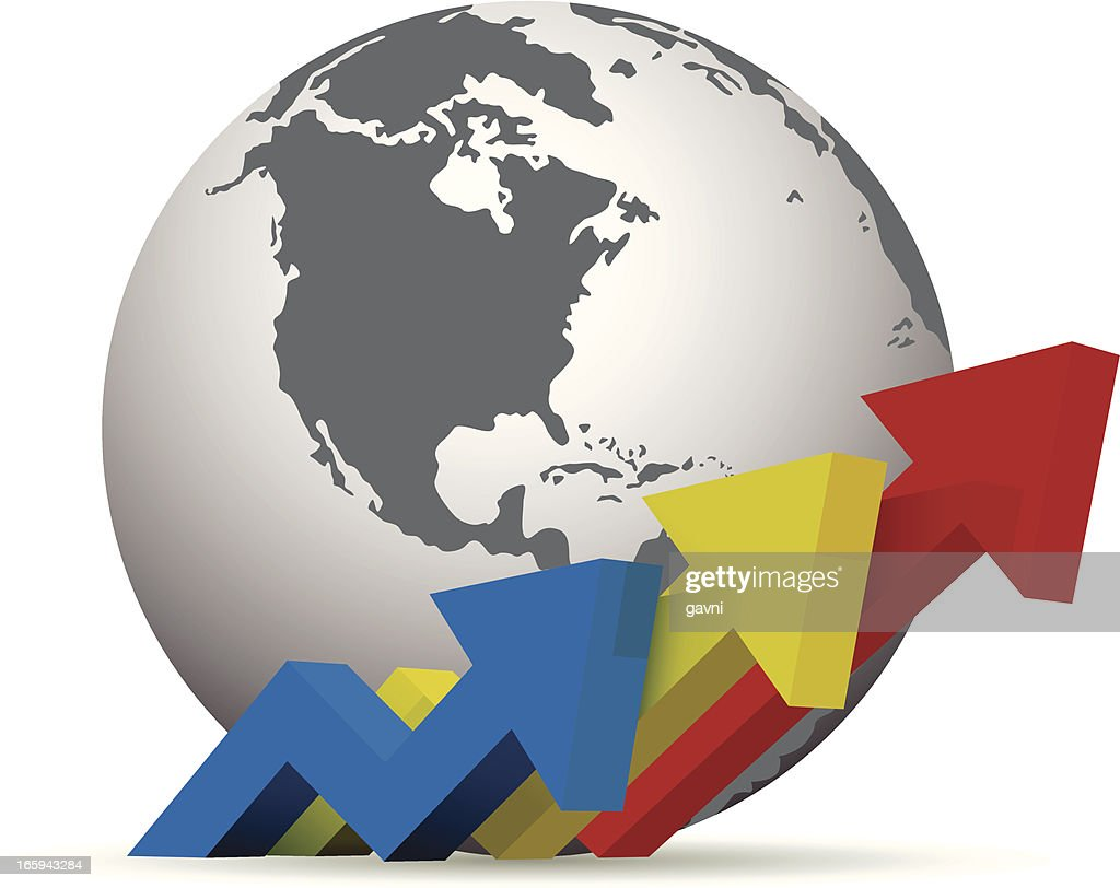 Growth Chart With World Vector Art Getty Images