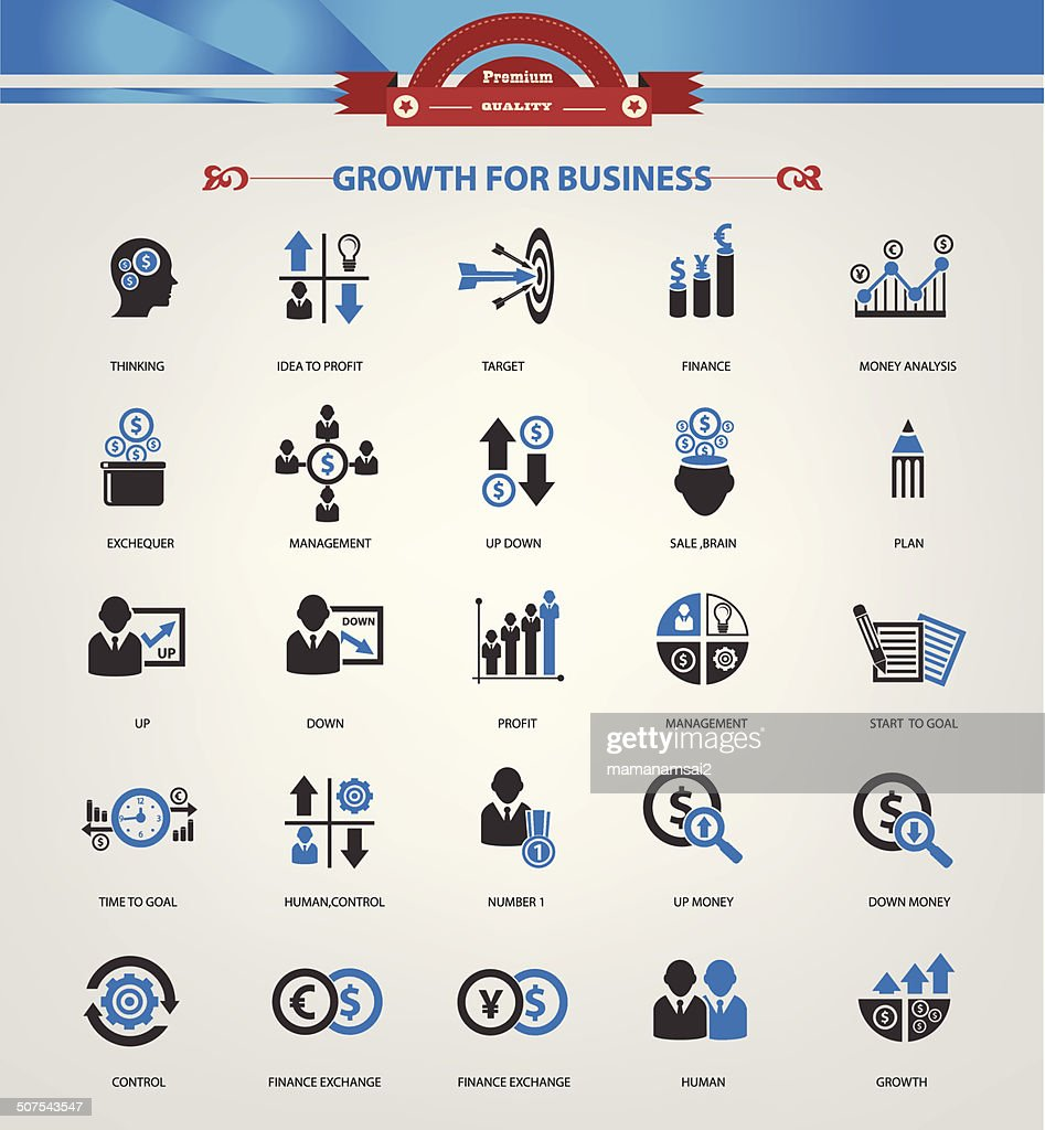 Growth, Finance and analysis icons,Blue version,vector