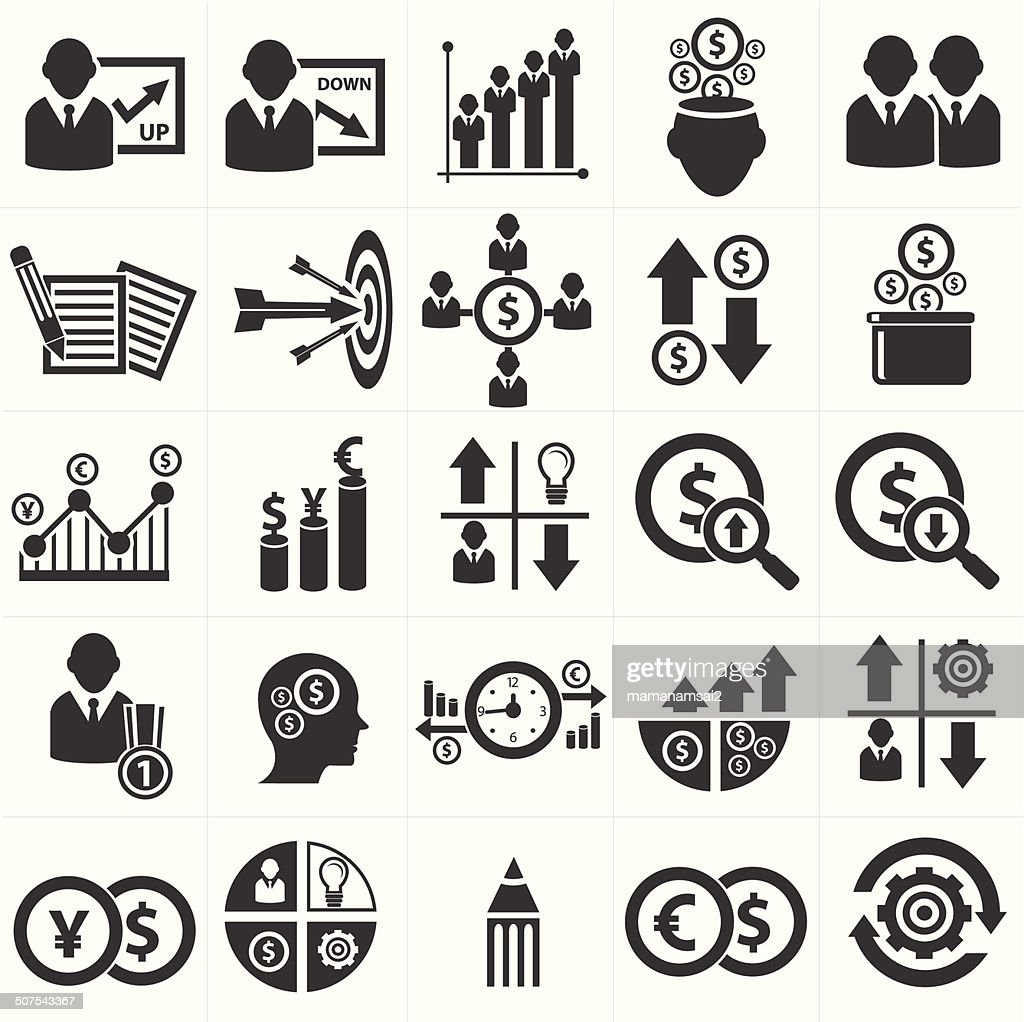 Growth, Finance and analysis icons,vector