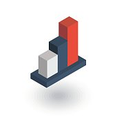 growth graph chart, market success, stock bar up isometric flat icon. 3d vector
