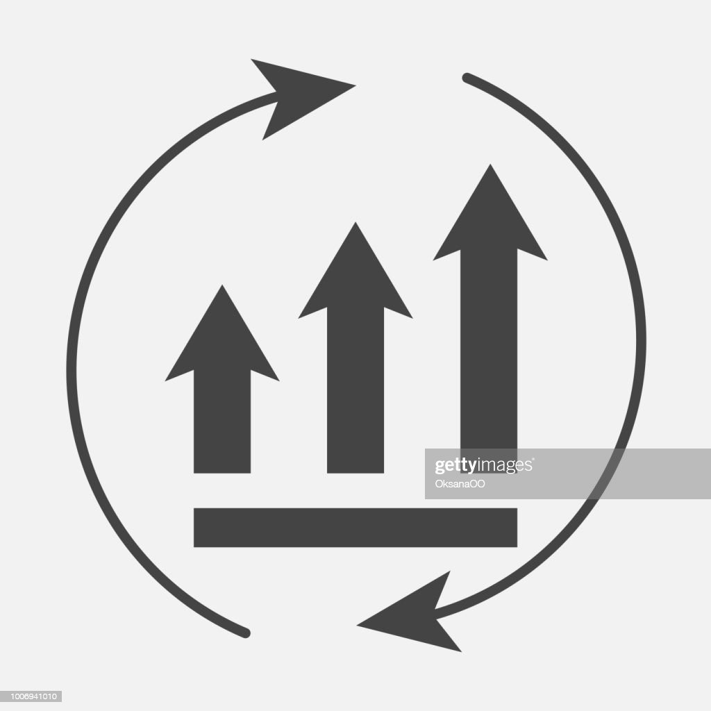Growth graph with arrows in a circle. Vector business icon schedule.