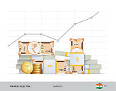 Growth graph with bundles of 200 Indian Rupee Banknotes and coins. Flat style vector illustration. Growth of financial and economy concept.