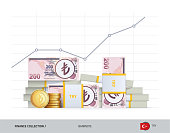 Growth graph with bundles of 200 Turkish Lira Banknotes and coins. Flat style vector illustration. Growth of financial and economy concept.