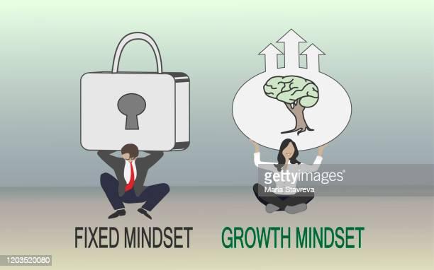 growth mindset and fixed mindset. - attitude stock illustrations