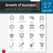 Growth of business elements vector icons set on white bg.