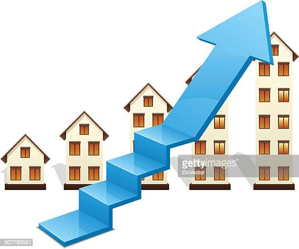 growth of real estate market - ordering stock illustrations, clip art, cartoons, & icons
