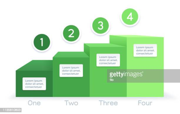 growth process bar graph infographic - four objects stock illustrations