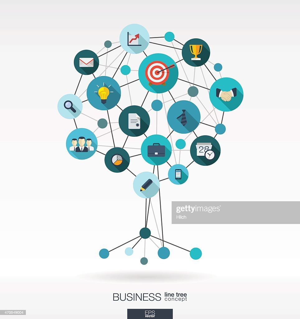 Growth tree business abstract background: lines, circles, integrated flat icons