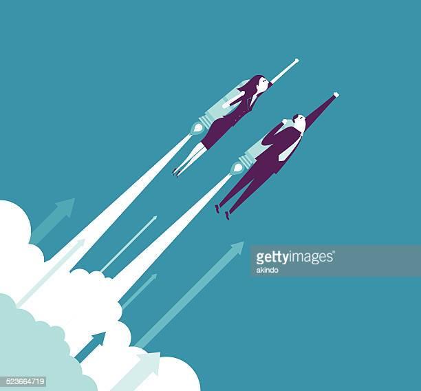 ilustrações, clipart, desenhos animados e ícones de o crescimento - voando