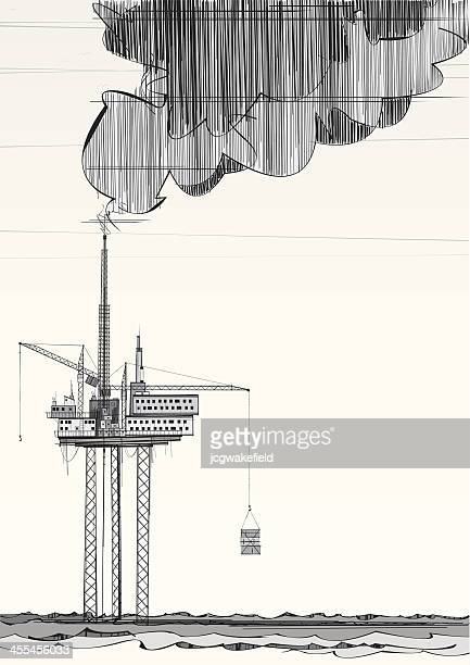 grubby oil rig - smoke stock illustrations, clip art, cartoons, & icons