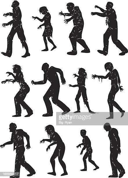 gruesome zombie silhouettes - zombie stock illustrations, clip art, cartoons, & icons