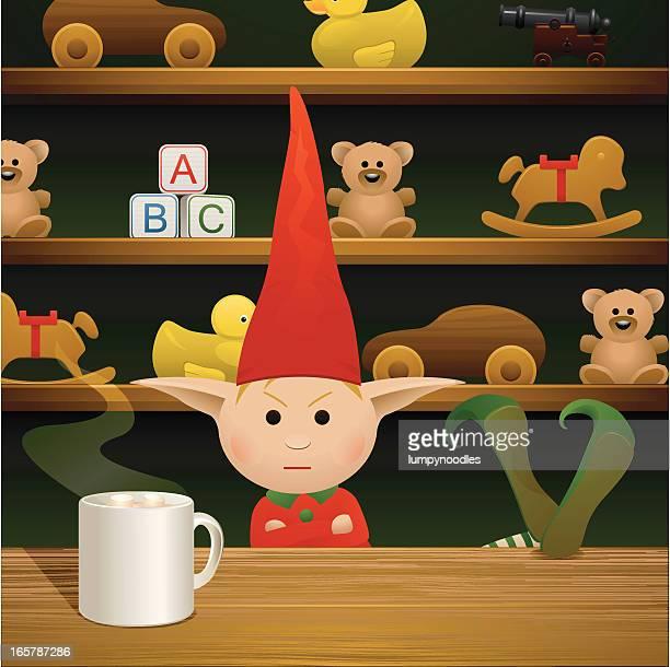 illustrations, cliparts, dessins animés et icônes de grumpy elfe - lutin