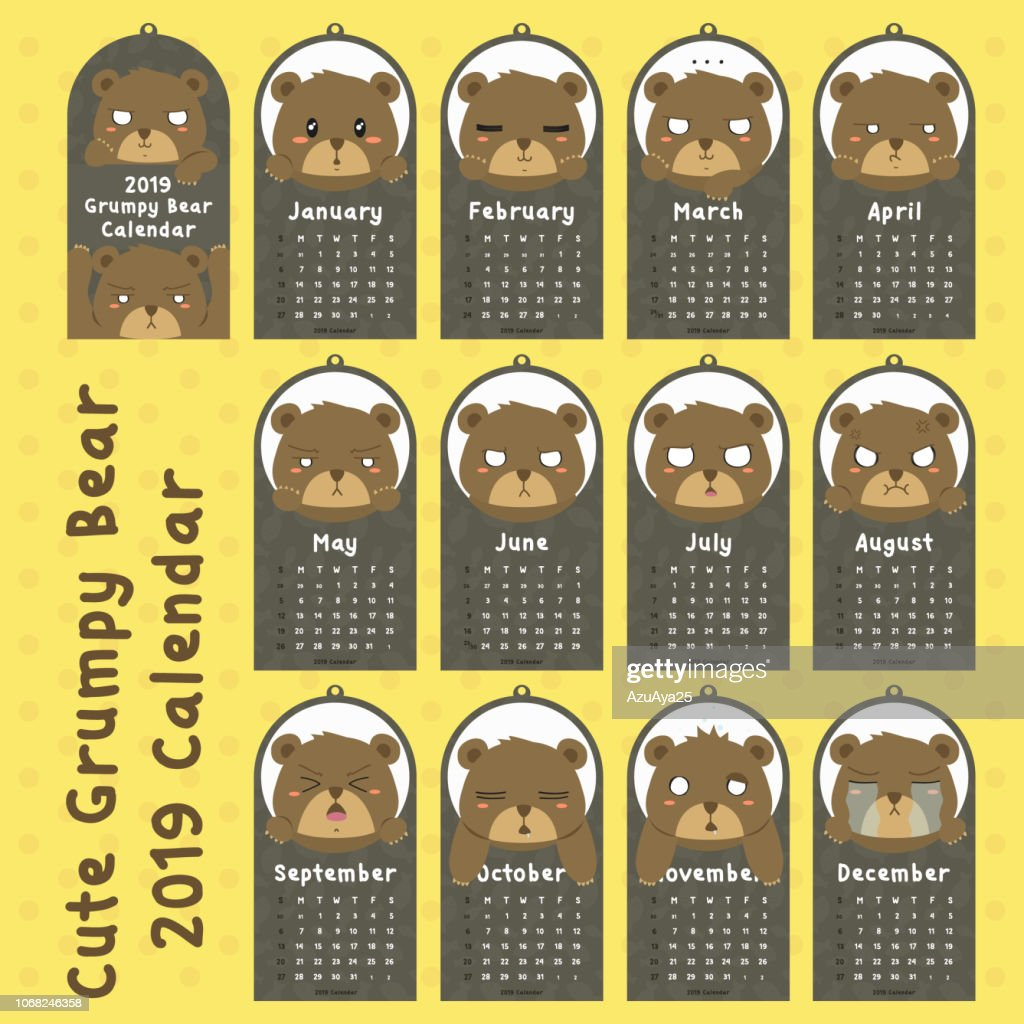 Grumpy Grizzly Bear 2019 Calendar Design Vector