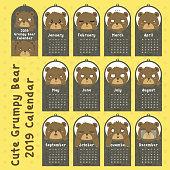 Grumpy Grizzly Bear 2019 Calendar Design Vector