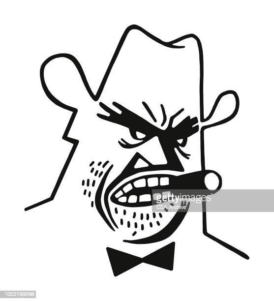 Grumpy Man Smoking a Cigar