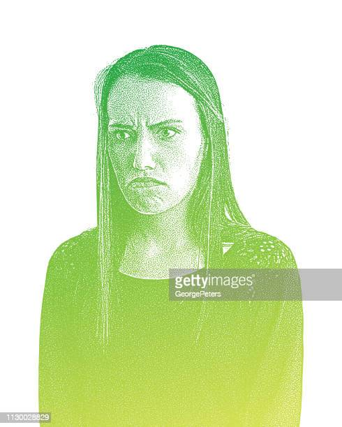 grumpy young woman with angry facial expression - the grass is always greener stock illustrations, clip art, cartoons, & icons