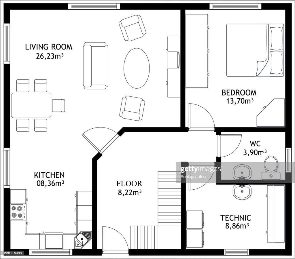 Grundriss Haus technische Zeichnung