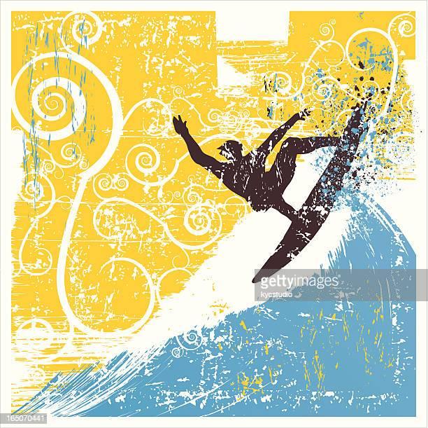 grunge aereal surf - tide stock illustrations, clip art, cartoons, & icons