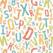Grunge alphabet seamless pattern