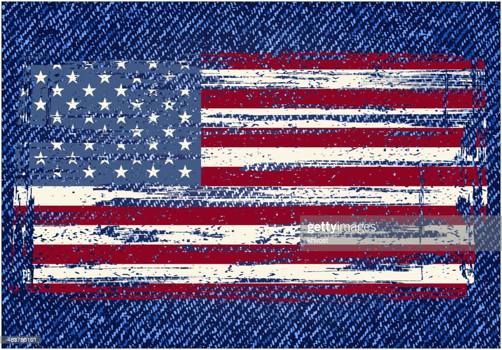 Grunge American flag on jeans background