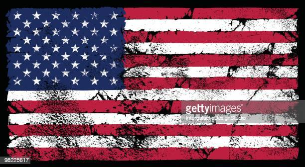 grunge american flag - weathered stock illustrations