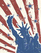 Grunge American Independence Day themed background. Vector.