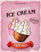 Grunge And Vintage Ice Cream Dessert Poster