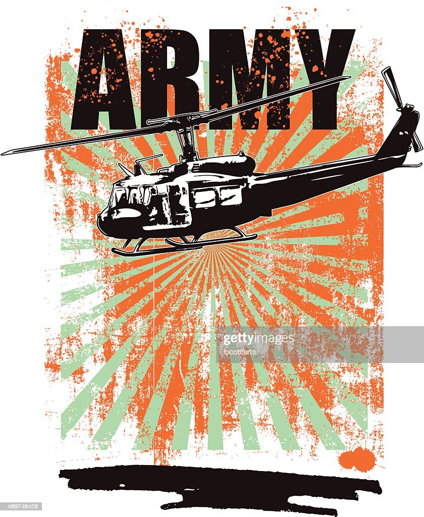 grunge army background with combat helicopter