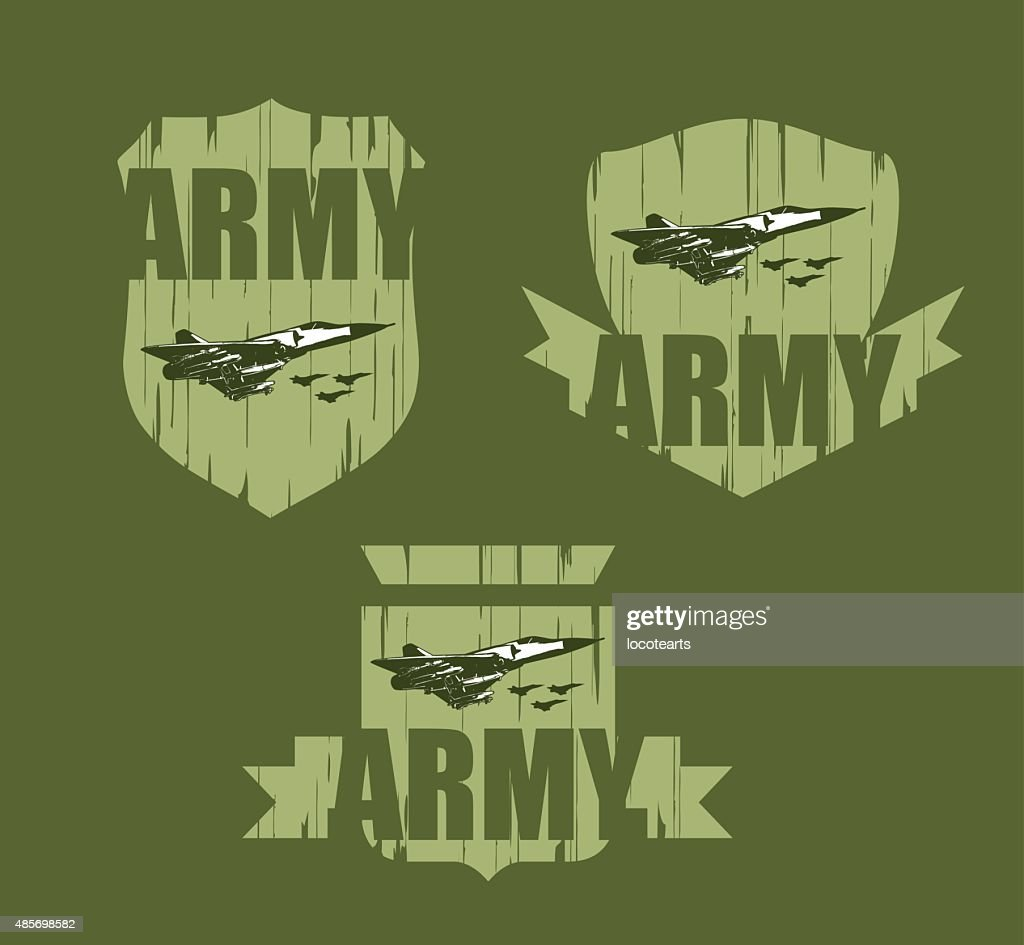 grunge army shields with fighter