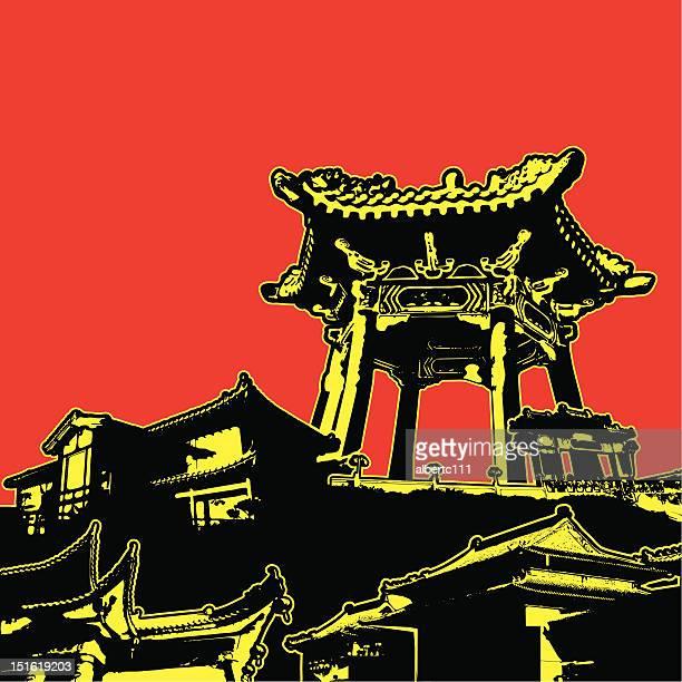 grunge asian architecture - pagoda stock illustrations, clip art, cartoons, & icons