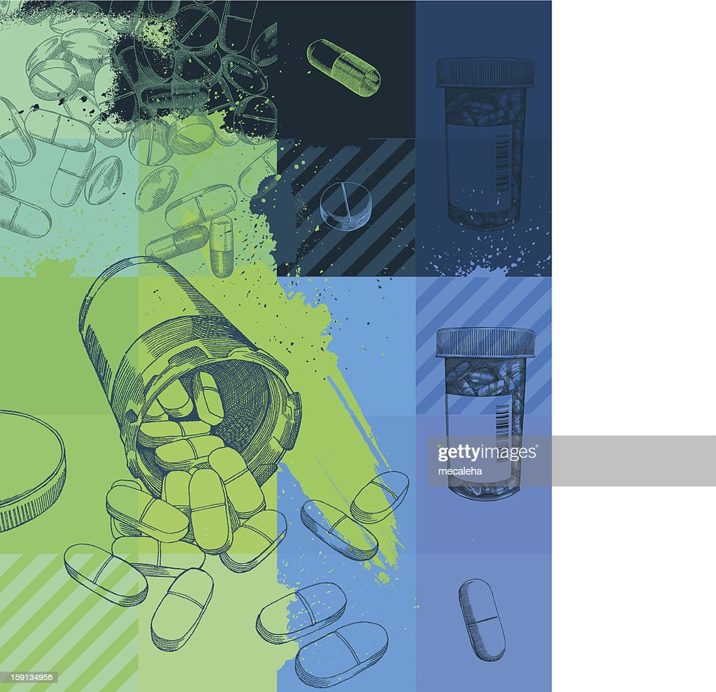 A grunge background of pharmaceuticals : Vector Art