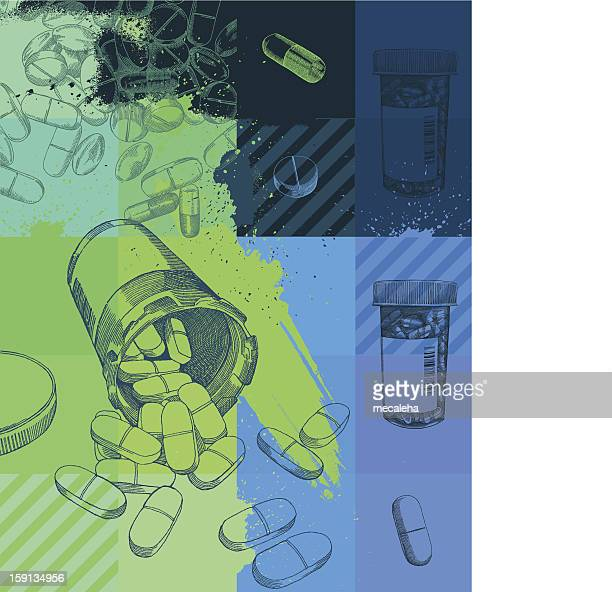 a grunge background of pharmaceuticals - recreational drug stock illustrations, clip art, cartoons, & icons
