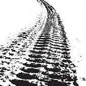 Grunge background with black tire track.