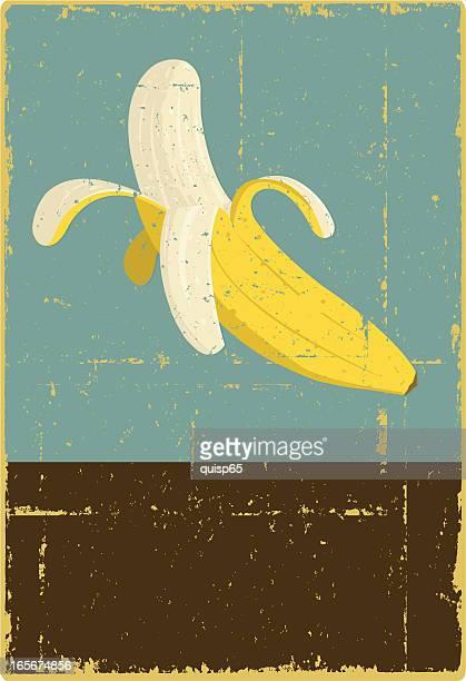 grunge banana sign - banana stock illustrations, clip art, cartoons, & icons