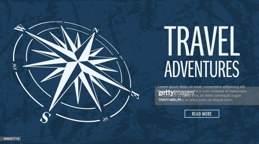 Grunge banner with compass rose