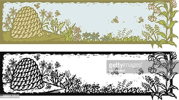 Banner de Grunge com Skep, abelhas e flores