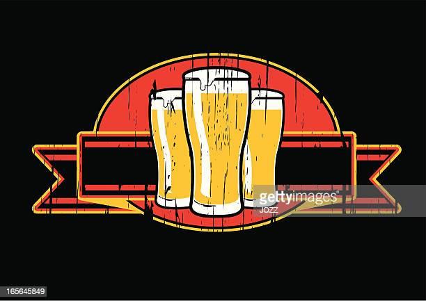 grunge beer emblem