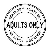 Grunge black adults only word round rubber seal stamp on white background