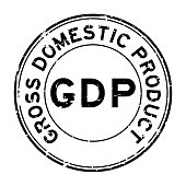 Grunge black GDP (Gross domestic product) round rubber seal stamp on white background